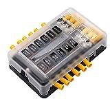 12-Fach Sicherungshalter mit Minuspol Sicherungskasten für Boot Wohnmobil Wohnwagen Solaranlage KFZ Auto LED-Anzeige 24 Kabelstecker normalen Sicherungen Sicherungsblock
