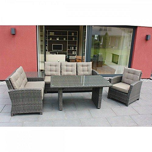 Eck-Lounge-Gruppe Gartenmöbel-Set Aluminiumgestell Polyrattangeflecht