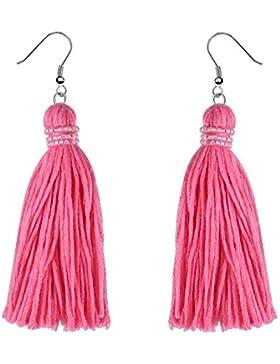 KELITCH Handmade Baumwollgarn Quaste Glocke Ohrhänger Ethno für Mädchen Damen - Rosa