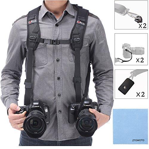 Tracolla doppia fotocamera imbracatura doppia fotocamera cinghia da polso e di sicurezza cinghia regolabile rilascio rapido per DSLR SLR