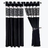Moonlight20015,Hochwertige Vorhänge, Gardinen, Luxus-Ausstattung, mit 2 Raffhaltern, mit Ringen, fertig zum Aufhängen, mit üppigen Falten, Kunstseide, Black & Silver Ring Top, 90