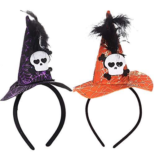 Legendog 2 STÜCKE Halloween Stirnband Hexenhut Skeleton Head Party Stirnband Haarband (Niedliche Kostüm Für 2 Schwestern)
