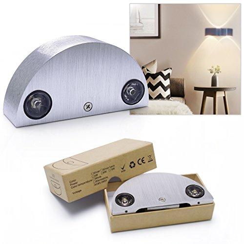 Auralum® 3W LED Wandleuchte Innen set de 1 silber