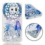 BONROY Coque, Etui Housse Liquide Crystal Coque Transparente Silicone TPU Case Cover Bling Glitter Sparkle Briller Quicksands pour Samsung Galaxy S6 Edge-(Carillon éolien TPU-Dream)