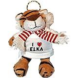 Tigre de peluche (llavero) con Amo Elka en la camiseta (nombre de pila/apellido/apodo)