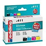 Edding 18-411 EDD-411 - Cartucce di ricambio per stampanti Brother LC980Bk/C/M/Y e LC1100Bk/C/M/Y