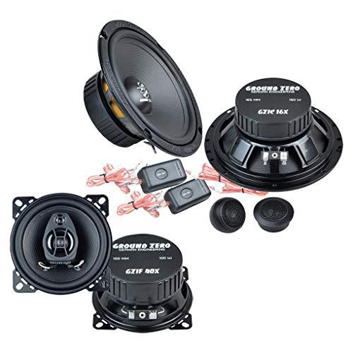 Ground Zero Front/Heck 16,5cm/10cm Auto Lautsprecher/Boxen/Speaker Komplett-Set kompatibel für OPEL