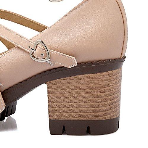 AgooLar Femme Rond à Talon Correct Couleur Unie Boucle Chaussures Légeres Rose