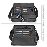 "Messenger Bag, GSTEK Unisex Vintage Canvas Messenger Bags Casual Sling Shoulder Pack Daypack Satchel Bag for Work, School, Daily Use - 11.8""(L) x 3.9""(W) x 10.2""(H), 26 Pockets (Black)"