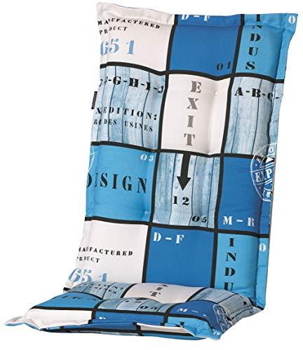 Madison 8 cm Luxus Hochlehner Auflage A 033 Tom Blue, blau kariert, 120 x 50 x 8 cm