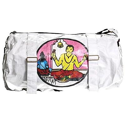 Shakti Milan Yoga Sporttasche White Shiv Pujari weiss Upcycled Tasche recycled Reissack Schultertasche Schultasche Umhängetasche Meditation