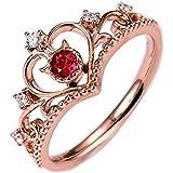 Scpink 2019 nuove signore corona anello gioielli retrò gioielli con diamanti anello regalo creativo (Oro rosa)