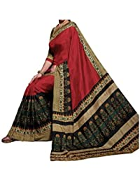 Aarvicouture Women's Bhagalpuri Art Silk Saree With Blouse Piece (Aarviart20_Red And Cream)