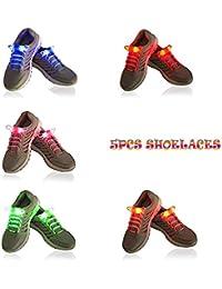Likorlove 5 pares lleva iluminado Nylon Glow Shoes Laces con 3 modos de Running Party Hip-hop patinaje y decoración, brilla intensamente cadenas de zapatos (Rojo / naranja / verde / azul / rosa)