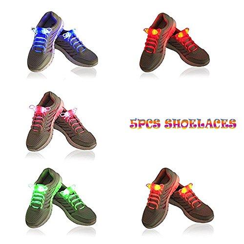 5 Paare LED leuchten Schnürsenkel, Likorlove leuchtende wasserdichte Nylon Schnürsenkel mit 3 blinkende Modi in 5 Farbe Beleuchtung der Nacht für Party Hip-Hop Disco Cosplay Tanzen Radfahren Wandern (Bleiben Mode-band)