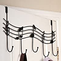 Topker Home Bathroom Kitchen Coat/Hat/Bag Metal Music Style Hook Hanger Organizer Iron Black