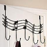 Aulley Home Bagno Cucina Cappotto / Cappello / Borsa Metal Music Style Gancio Gancio Organizzatore Ferro Nero