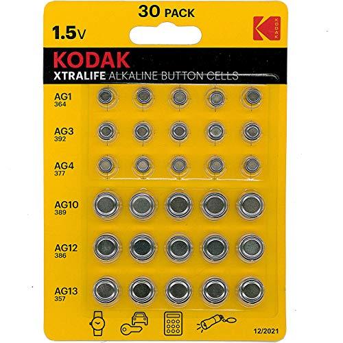 Kodak xtralife - 30 batterie alcaline a bottone ag1 364 ag3 392 ag4 337 ag10 389 ag12 386 ag13 357