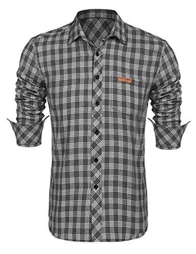 Grau Kariertes Hemd (Burlady herren hemd kariert Slim Fit Langarm Freizeithemd Flanellhemd)