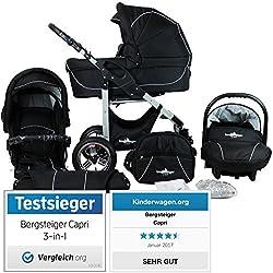 Bergsteiger Capri Kombikinderwagen 3-in-1 - System; Autositz; Schwenkräder (Megaset 10 - teilig); Farbe: Black Edition