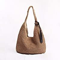 YSY-CY Personalized Weave Handbag, Large-capacity Tassel Straw Bag, Large Handle Shoulder Bag, European And American Style Beach Bag Suitable for outdoor/leisure