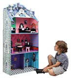 Teamson Kids - Monster Mansion Kids Large Wooden Dollshouse Doll House with Furniture for 12 inch Dolls