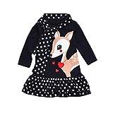 Prinzessin Kleid Kleinkind Kinder, DoraMe Neugeborenen Baby Mädchen Lange ärmel Party Kleid Dot Deer Druck T-Shirt Kleid O-Ausschnitt Mode Casual Kleid für 1-4 Jahr (Dunkelblau, 12 Monate)