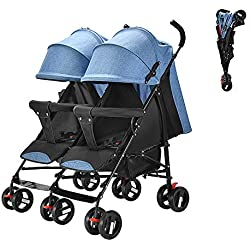 Saturey Doble Cochecito Doble, Cochecito en tándem Plegable Lado a Lado, Asientos reclinables independientemente Canopy Extended Extended Canopy Newborn Gift,Blue