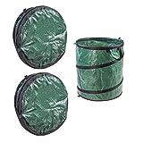 DeTec 3x Laubsack Gartenabfallsack, Pop Up Sack, Garten-Abfallsack, Selbstaufstellend durch Pop-Up-Technik (eingenähte und vorgespannte Stahlfeder), je 200 Liter