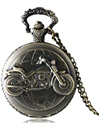 exciting Lives Vintage Motorbike Pocket Watch Birthday for Kid Husband Boyfriend Father, 4.8 x 1.5 cm, Grey