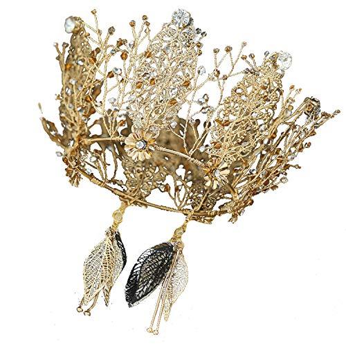 YANGLAN Vintage Kristallkrone, Braut Blume Strass Krone Kopfschmuck, Europäische Hochzeitskleid...