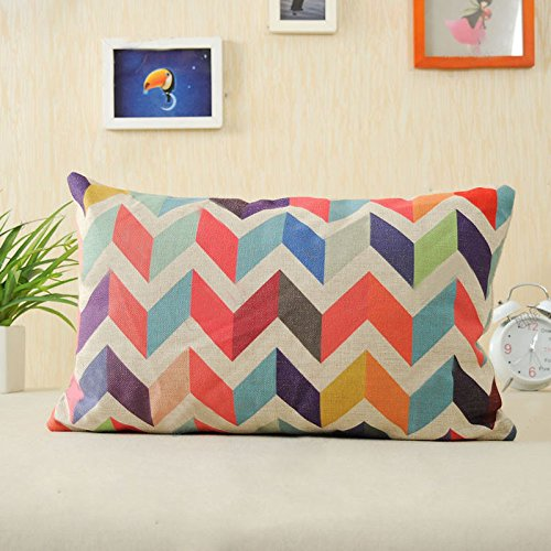 Cushion Cover 30 x 50 cm, Rcool Geometric Pattern Linen Decorative Pillow Case (A)