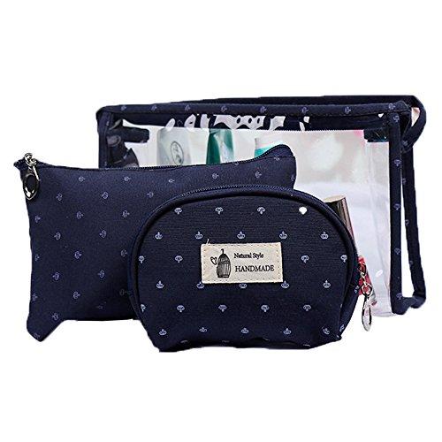 3 Set PVC Reisetasche für Toilettenartikel Handtaschen für Frauen Kosmetiktasche Tasche Make-Up Tasche Kleine Brieftasche Transparent mit Reißverschluss (Schwarz) - Mehrzweck Brieftasche