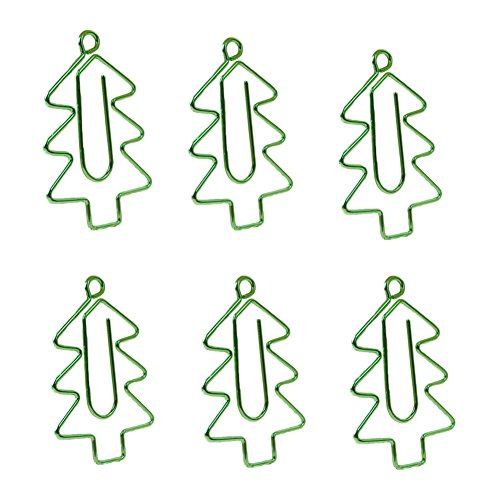 6x Milopon Büroklammern Metall Baum Heftklammern Creative Farbige Multifunktionale Clips Grün (Mini 6-ring-binder)