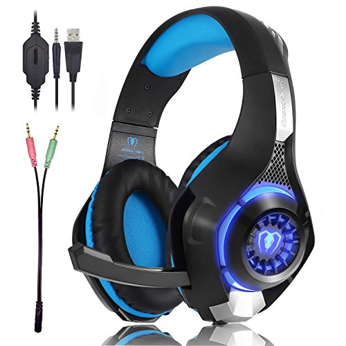 Gaming Headset für PS4 Kopfhörer mit Mikrofon, Lautstärkeregler, LED-Licht und 3,5 mm, Gaming Kopfhörer for für Xbox One, Laptops, Mac, Tablet und Smartphone (Blau) Headset Voice Tube