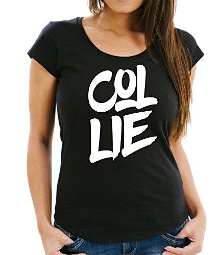 Siviwonder Collie Lassie Langhaar Rough Kurzhaar - Font Schrift Women Girlie T-Shirt Black XL - 40 -