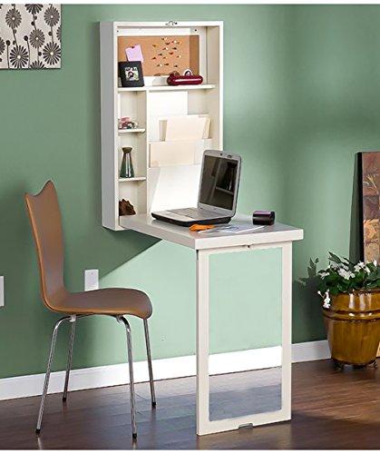 Table murale Bureau Table Pliable Murale Ordinateur Portable Bureau Meuble de Rangement avec Étagère Intégrée Armoire de Rangement Murale Ardoise Blanc BxHxT 82x154x50cm