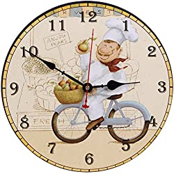 seju 30,5cm Silent Relojes de Pared de Madera para salón, dormitorio, Cocina, Piso, Vintage/Country/Estilo Retro/francés, redondo Madera Reloj de pared Decor con No, funciona con pilas, Fahrrad, 12*12*0.4 inches