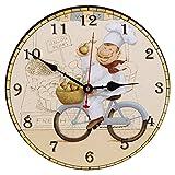 seju 30,5cm Silent Wanduhren aus Holz für Wohnzimmer, Schlafzimmer, Küche, Flur, Vintage/Country/Retro/Französisch Stil, rund Holz Wanduhr Decor mit nicht, batteriebetrieben - Fahrrad