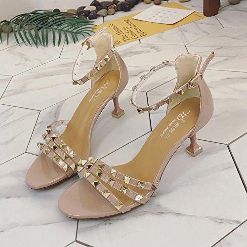 XY&GKSandales femmes Chaussures de mode d'été All-Match High-Heeled,avec le meilleur service 35Camel
