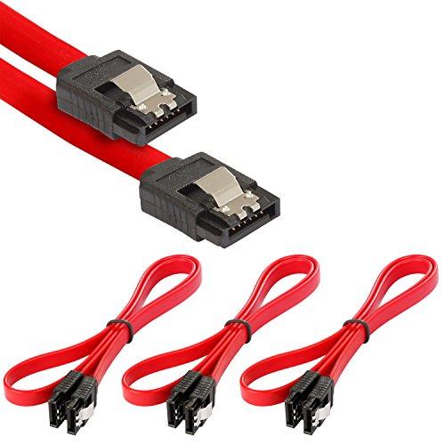 Poppstar 3x S-ATA 3 HDD SSD Datenkabel (0,5 m, 2x Stecker gerade) (bis zu 6 Gbit/s), Sata Kabel für DVD, BlueRay, Festplatte, Motherboard, PC Case Modding uvm., rot