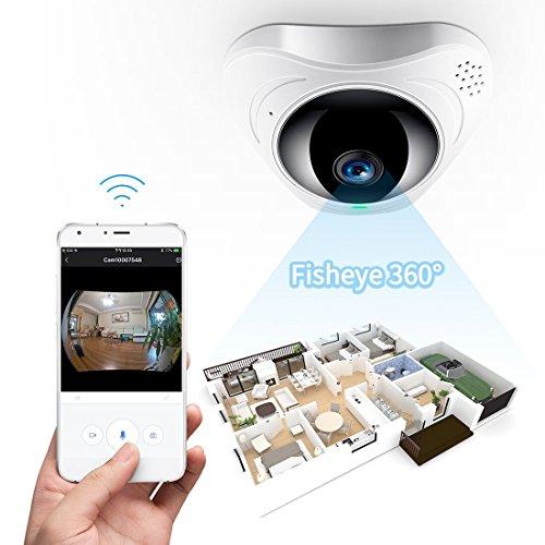 FREDI IP Sicherheit Kamera 960P Panorama Kamera 180°Wlan Videoüberwachung Dome Überwachungskamera IP Cam mit IR Nachtsicht /2 Weg Audio/Bewegungsmelder für Haus /Baby Überwachung (3608) (Sicherheits-kamera Aus)