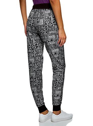 oodji Ultra Femme Pantalon en Maille avec Cordon de Serrage Noir (2910G)