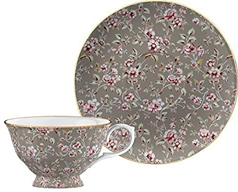 Katie Alice Ditsy Floral Grey Fine Bone China Tea Cup and Saucer in Gift Box by CreativeTops
