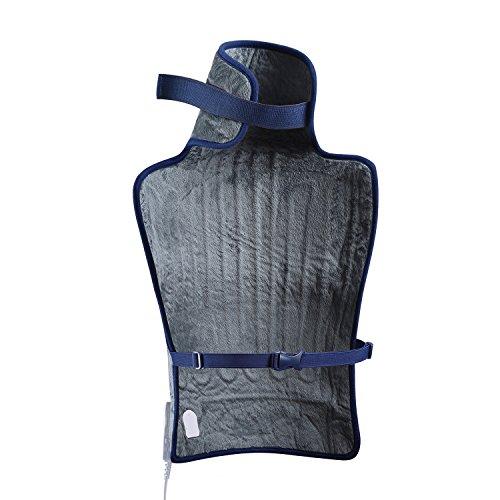iGuerburn - Elektrische Heizkissen für Hals und Decolleté Rücken - 100 W - 59 x 39 cm - Grau - Es Die lindert Schmerzen im Nacken, Rücken, der Spalte Vertebral und die Muskeln - Kissen