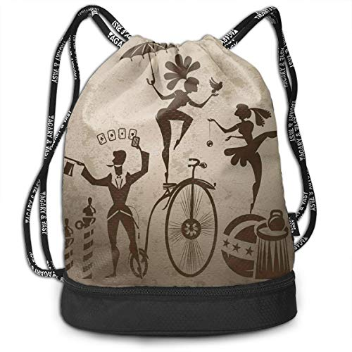 DDHHFJ Multifunctional Drawstring Backpack for Men & Women, Silhouette Circus Performers As Magician Doing Card Trick And Girl On Unicycle,Travel Bag Sports Tote Sack with Wet & Dry Compartments