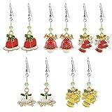 MJARTORIA Damen Mädchen Weihnachtsschmuck Ohrringe Ohrstecker Silber Farbe mit Rot Beads Anhänger Charms 6 Stück