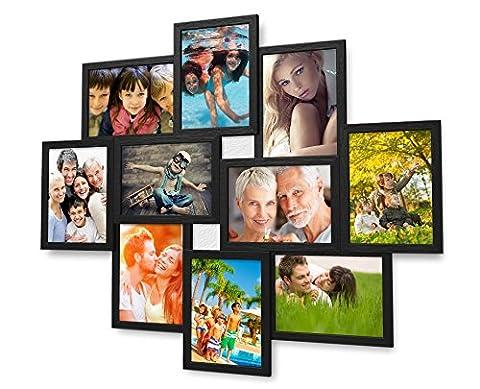 Holz Fotogalerie für 10 Fotos 13x18 cm - 3d 1002 Bilderrahmen Bildergalerie Fotocollage Rahmenfarbe