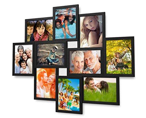 Holz Fotogalerie für 10 Fotos 13x18 cm - 3d 1002 Bilderrahmen Bildergalerie Fotocollage Rahmenfarbe Schwarz (Foto-rahmen-16x16)