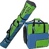 BRUBAKER Borsa porta scarponi 'Super Function 2.0' con scomparto casco et sacca da sci 'Carver Pro 2.0' colore blu verde 190 cm